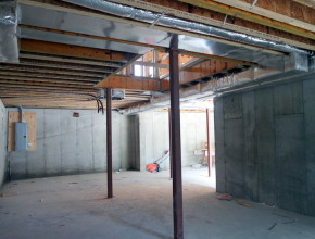 here is view of the duct work in the basement and garage